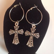 Cross  hoop earrings silver plated.