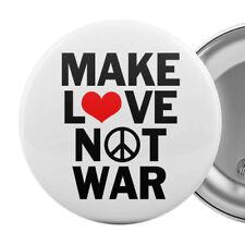 """Make Love Not War Large Badge Button Pin 55mm 2.25"""" Anti-War Peace Slogan"""