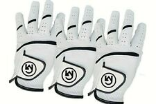 3 All Weather Mens White Golf Gloves 100% premium Cabretta Leather Left hand