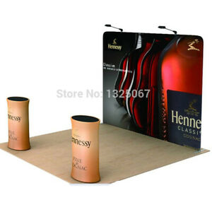 10ft tension fabric trade show display back wall pop up stand with custom print