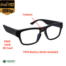 1080p Full HD Extra Long Power Reading Glasses Hidden Security Camera Audio 16GB