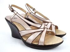 SOFFT Women's Brown/Pinkish Leather Slingback Wedge Heel Sandals SIze 8 M