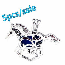 25mm Run Horse Cage Animal Pendant K481-5pcs! Silver Beads Pearl Cage (4-7mm) -