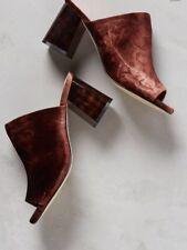 Anthropologie Silent D Brown Velvet Mules Sandal Clog Shoe 37 US7 Retails $98.00