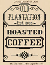 Old Plantation Coffee (antique label style) , counted cross stitch chart
