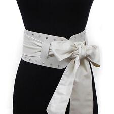 Women 2 in 1 Tie Corset Wide Kimono Wrap Cinch Waistband Obi Bow Rhinestone Belt