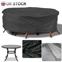 Black Large Round Outdoor Furniture Cover for Garden Table Chair Patio Set CA