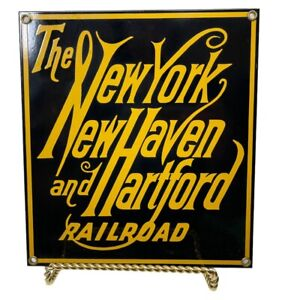 Ande Rooney New York New Haven Harford Railroad Train Porcelain Metal 9x8 Sign