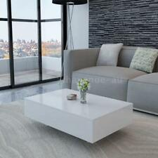 High Gloss White Coffee Table Side End Square Furniture Living Room 85 cm V1W5
