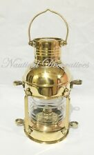 "Brass Anchor Oil Lamp ~ Nautical Maritime Ship Lantern 10"" Wall Hanging Decor"