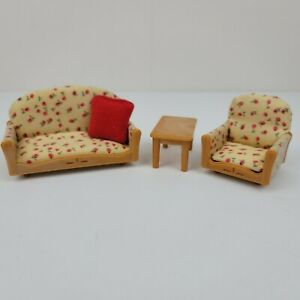 Vintage Calico Critters Epoch Living Room Pink Floral Sofa Chair & Table 1985