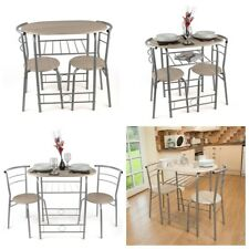3 Piece Dining Set Breakfast Bar Kitchen Table Chairs Christow Furniture Silver