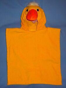 Bath towel-hooded-terry cloth-swim-beach cover up-duck poncho costume-kids 2-4-6