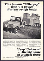 """1966 Jeep Universal with Trailer photo """"Power & Traction"""" vintage print ad"""