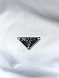 Prada Classic Triangle Logo in Black with Silver Plate