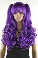 Dark purple colors Lolita Girl women long wavy curly Cosplay wig 2 ponytail