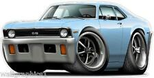 71-72 Chevy Nova SS 350 Turbo Fire Muscle Car Wall Graphic Decal Poster Cling