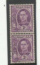 Stamps Australia 2d purple KGV1 with watermark coil perf pair fine used, scarce
