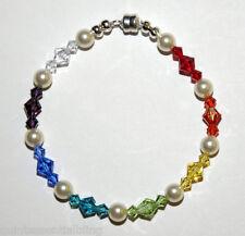 12C Sterling Silver Pearl Swarovski Elements Crystal Chakra Bracelet