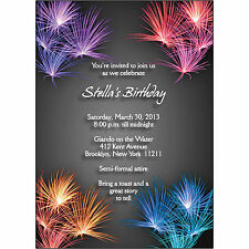 25 Personalized Birthday Party Invitations  - BP-021 Fireworks - Exciting!