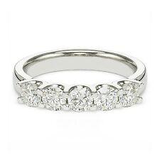 1.25 ct tw F/Si-1 Round Brilliant Diamond U Shape Wedding Band 14K White Gold