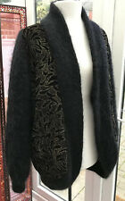 Luxury mohair House of COLWYN Black Gold Lined Jacket Cardigan Vintage 16/18 NEW