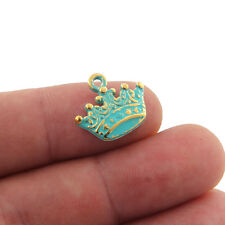 10pcs Royal Crown Bronze Green Charms Beads Pendant DIY Jewelry Making 17*15mm