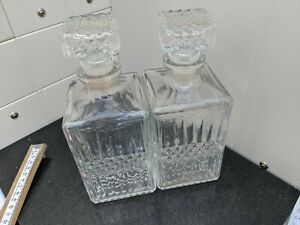 2x Glass Decanters Set Whiskey Sherry Brandy Liqueur Wine Decanter