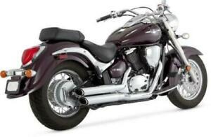 Vance & Hines Twin Slash Staggered Exhaust Chrome fits Suzuki Boulevard C50