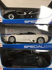3 new Maisto 1:18 Scale Lamborghini Diablo SV,Murcielago LP640,Gallardo Superleg