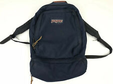 Vintage JanSport School Backpack Book Bag Navy Blue Made in USA Leather Accents