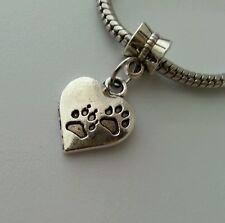 Pet Heart Cat Dog Paw Print Dangle Bead fits European Charm Bracelets Silver