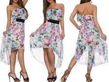 Sexy Miss Ladies Mullet Chiffon Mini Dress Bandeau Flounce Flowers Dress SX NEW