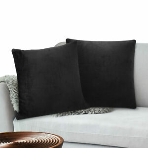 Pillow Covers Set of 2 Sofa Throw Decor Fleece Cushion Cases 2 Sizes with Zipper