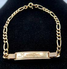 18k Gold Figaro Chain ID Bracelet Laura 4.6g