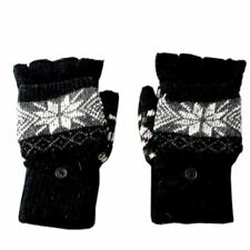 Unisex Black Snowflake Combination Gloves/Mittens with Grey Fair-Isle Pattern