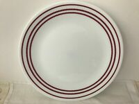 "Vtg 3 Corelle Vitrelle ""Classic Cafe Plates Red Dotted Bands 10 1/4"".  Disc."
