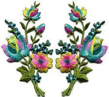 Rainbow roses pair flowers floral bouquet boho appliques iron-on patches S-983
