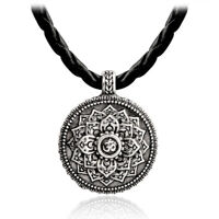 Om Lotus Mandala Pendant Necklace Tibetan Buddhist Protection Meditation Jewelry