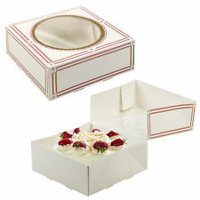 4 x Square Self Build Cardboard Presentation Cake Boxes Window Wedding Birthday