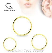 2pcs. 20G 18G 16G 14G Surgical Steel Seamless Nose Hoop Ring Earring Septum Ring