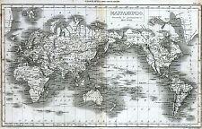 Mappamondo di Mercatore. Grande Carta Geografica. Kupferstich. Copperplate.1866