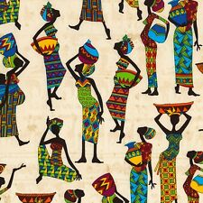 Fabric African Tribal Women on Cream Cotton by the 1/4 yard BIN