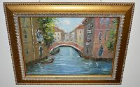 Oil on Canvas Painting Signed by W. Adams Boats by the canal