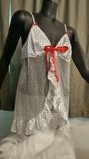 NWT Victoria Secret Open Front Babydoll - Blk/Wht/Red Polka Dots Sexy Club Wear