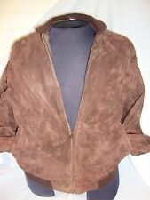 Mens Barney's New York Genuine Leather Brown Sweater No Hood Cotton Lining M