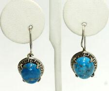 Vintage Sterling Silver Oval Natural Chrysocolla Greek Key Drop Earrings