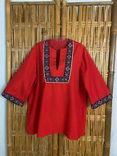 Vtg 60s Hand Made Top Shirt Red Hearts Border Over Sized Hippy Bust 48 Plus