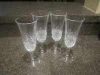 Crystal Clear Champagne Flutes Glasses Stemware Diamond Waffle Cut Set of 4