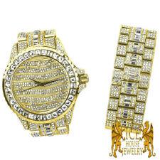 Men yellow Gold 2 Tone Watch Matching + Bracelet Lab Simulated Diamond combo Set